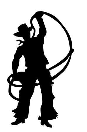 american rodeo: illustrazione come silhouette di rodeo cowboy a cavallo selvaggio