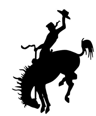 cowboy: illustration as silhouette of rodeo cowboy on wild horse