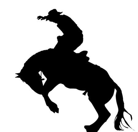 illustration as silhouette of rodeo cowboy on wild horse Vector