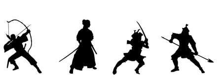 guerrero samurai: Silueta de ilustraci�n de combate samurai Vectores