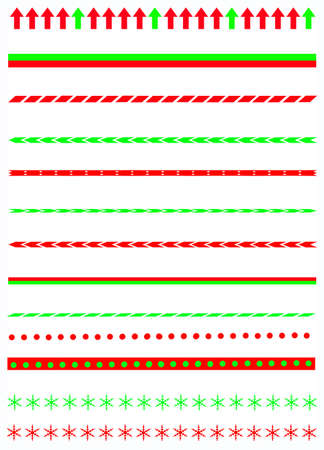 Collection on christmas borders   divider graphics including holly border, candy cane pattern, christmas trees and more Vector