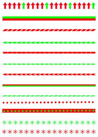 r image: Collezione di Natale confina con grafica divisore tra agrifoglio confine, canna modello caramelle, alberi di Natale e molto altro Vettoriali