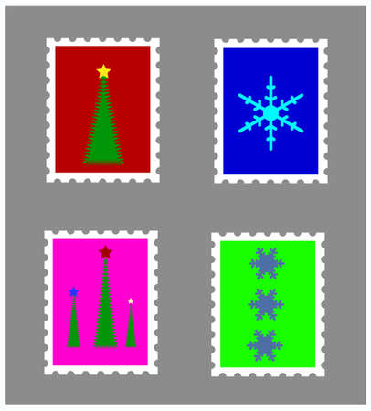Set of four Christmas stamps isolated on brown background Stock Vector - 16129811