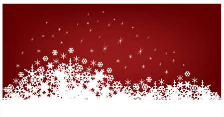 flakes:  red Christmas banners isolated on white background