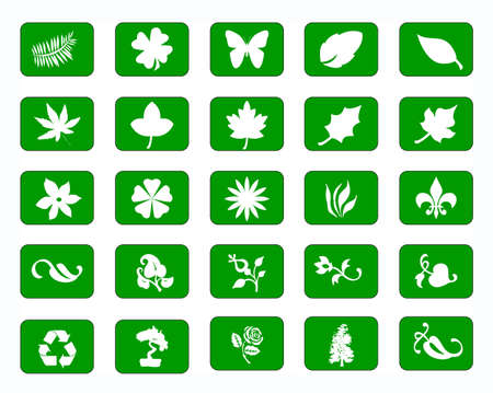 An illustration of 25 Green icons on a white background  Vector