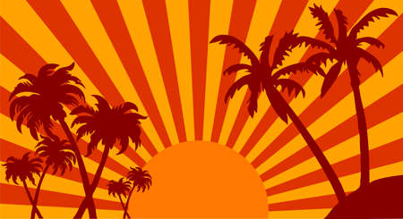 Illustration of sunrise on the beach with palms and birds, could be also sunset  Vector