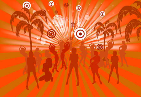 people having fun: Young people having fun at the party  summer season grunge vector illustration with banner for your sample text