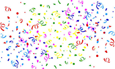 holiday celebrations: Falling confetti and streamers background Illustration