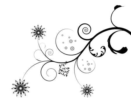 beautifu: Abstract isolated on white flourish, digital artwork