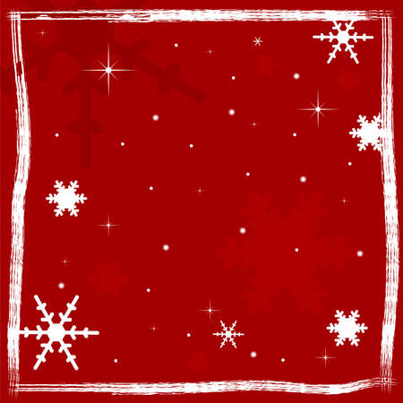 Christmas background with snowflakes and grunge elements in shades of red  Vector