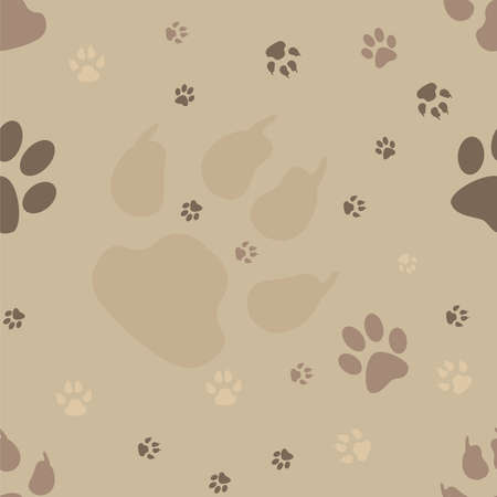 Dog paw prints seamless pattern Vector