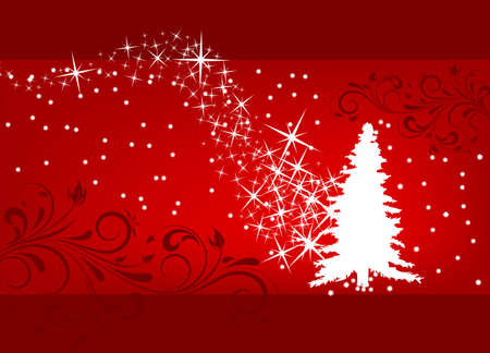 Abstract winter background with christmas tree and scrolls Vector