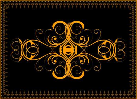 gold en: Illustration background frame with vegetable gold en  pattern Illustration