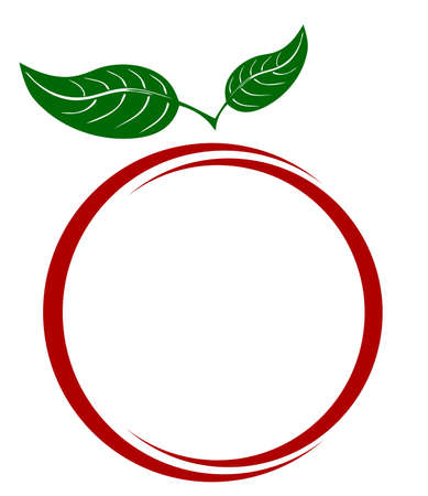 插圖白色背景上的一個蘋果 向量圖像