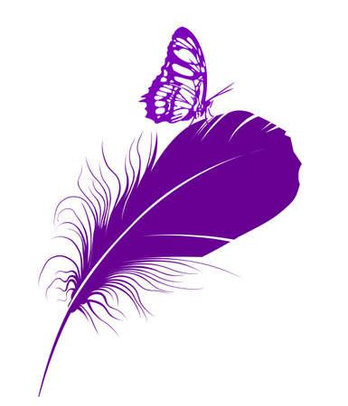 tekening vlinder: paarse vlinder op een veer Stock Illustratie