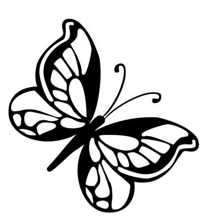 插圖 - 黑色的蝴蝶在白色背景上