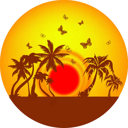 palms and butterflies in the sun Stock Vector - 16543481