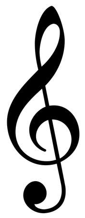 clef:  An illustration of a musical treble clef symbol