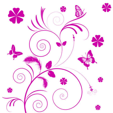 Abstract flowers background with butterflies  Stock Vector - 16575172