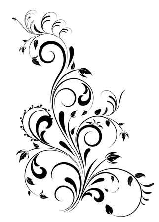 美麗的黑色漩渦花卉設計,插圖孤立