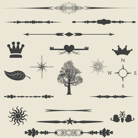 set  calligraphic design elements and page decoration  lots of useful elements to embellish your layout  Stock Vector - 16661162