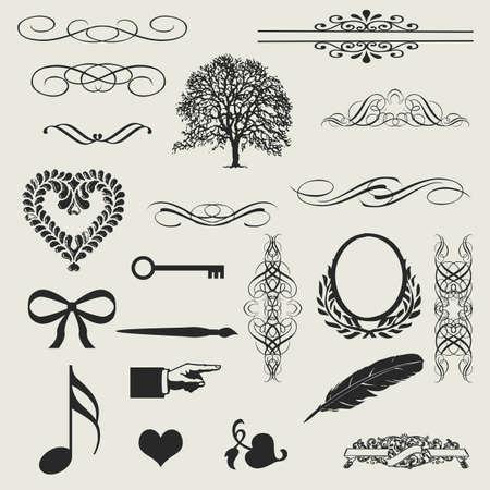 ностальгический: набор каллиграфические элементы и оформление страницы - много полезных элементов, чтобы украсить ваш макет