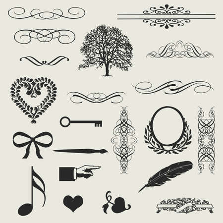 set of calligraphic design elements and page decoration - lots of useful elements to embellish your layout  Vector
