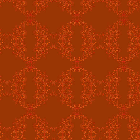 Damask seamless floral pattern  Flowers on a red background   Vector