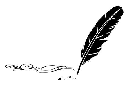 Black-and-white feather and flourish  Stock Vector - 16661100
