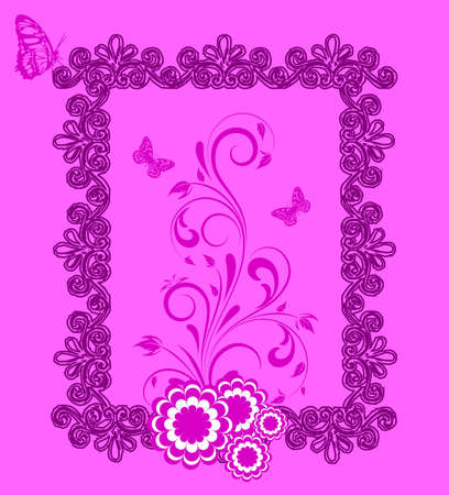 Floral frame with butterfly,  and flower dahlia  Element for design   illustration   Vector