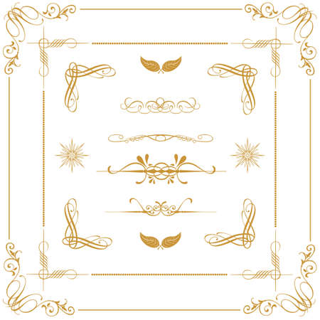 set of gold decorative horizontal floral elements, corners, borders, frame, crown  Page decoration   Stock Vector - 16661155