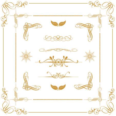 page decoration: set van gouden decoratieve horizontale florale elementen, hoeken, randen, frame, kroon Page decoratie Stock Illustratie