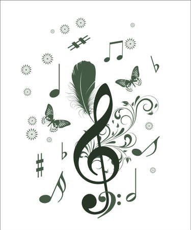 musical background with treble clef  Vector