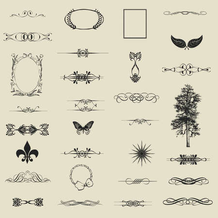 set of calligraphic design elements and page decoration - lots of useful elements to embellish your layout  Stock Vector - 16661199