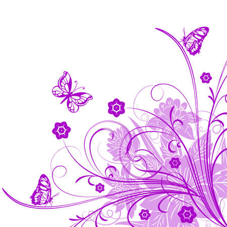 attrition: Vector card with a branch and butterflies