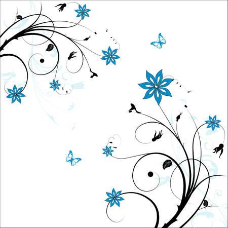 esquineros florales: Hermoso fondo abstracto floral con mariposas Vectores