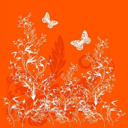 Flower background with butterfly, element for design Vector