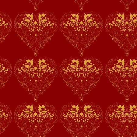 Red and gold  vector seamless pattern or background  Vector