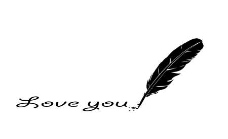 feather writing love you,on a white background Stock Vector - 16956338