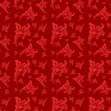 Seamless floral pattern  Rose flowers on a red background   Vector