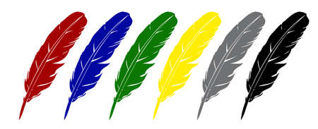 feather  Four variants of color   Stock Vector - 16956320