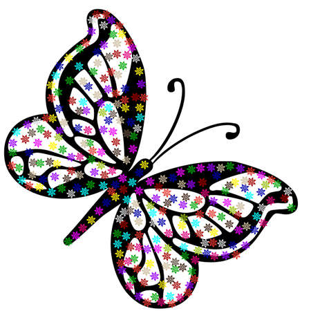floral butterfly on a white background Stock Vector - 16956350