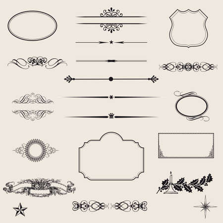vector set  calligraphic design elements and page decoration - lots of useful elements to embellish your layout  Stock Vector - 17040989
