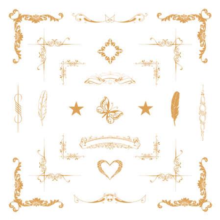 向量組的金色裝飾水平花卉元素,邊角,邊框,邊框,皇冠裝飾頁