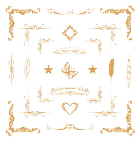 Vector set of gold decorative horizontal floral elements, corners, borders, frame, crown  Page decoration