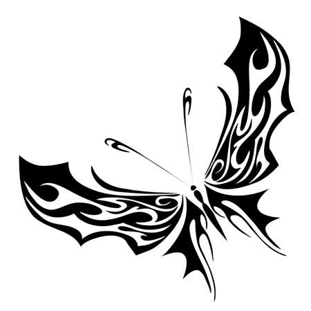 Vector illustration - black butterfly on a white background Stock Vector - 17088293