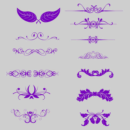 Vector set  floral decorative elements, ornamental rules, dividers  Page decoration   Vector