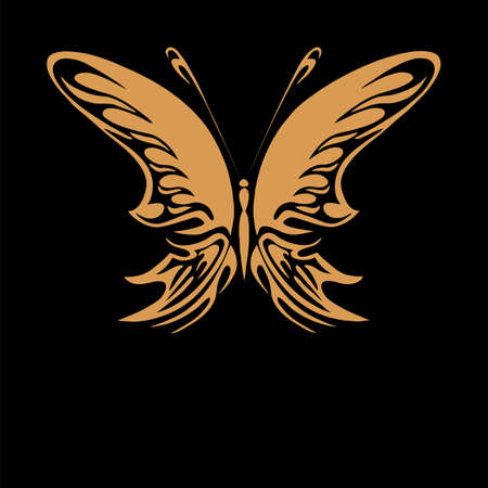 Perfect retro gold floral butterfly isolated on beautiful black background with your text Vector