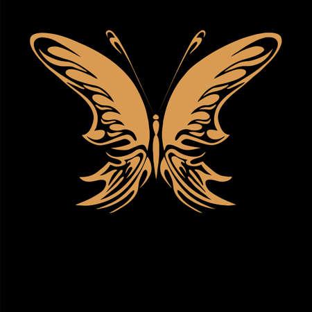 tatuaje mariposa: Perfecto mariposa oro retro floral aislado en fondo negro hermoso con el texto
