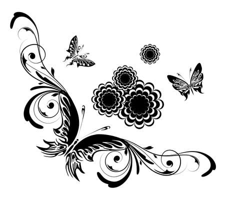 Background with butterfly on a white background Stock Vector - 17121707